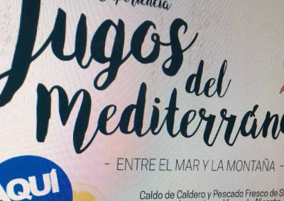 Gráfica Publicitaria Jugos del Mediterráneo Gastro Experiencia